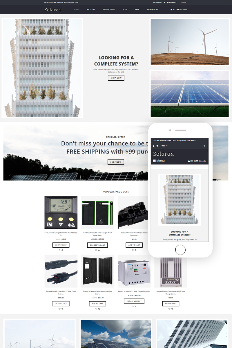 """Tema Shopify """"Solarex - Solar Energy Multipage Clean"""" #81562"""