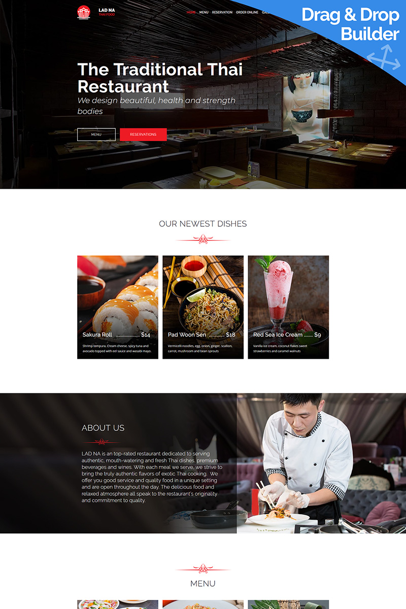 """LAD NA - Thai Restaurant"" - адаптивний MotoCMS 3 шаблон №81692"