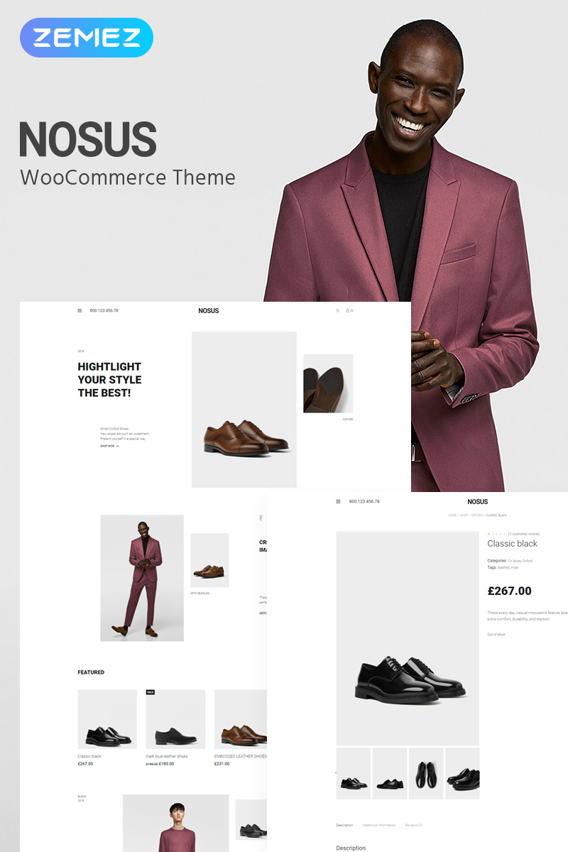 """Nosus - Shoes ECommerce Minimal Elementor"" Responsive WooCommerce Thema №81688"