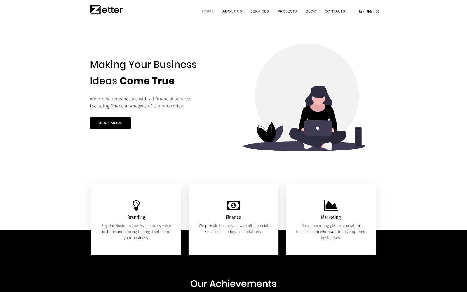 """Zetter - Business Multipurpose Black&White Elementor"" Responsive WordPress thema №81610"