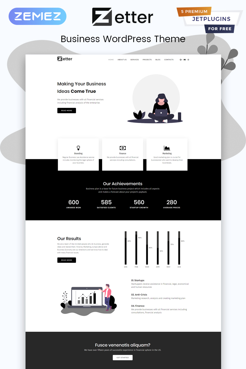 Zetter - Business Multipurpose Black&White Elementor WordPress Theme - screenshot