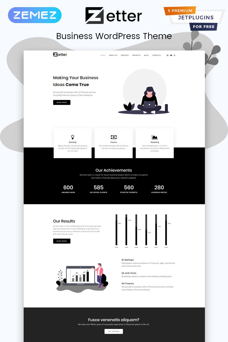Zetter - Business Multipurpose Black&White Elementor WordPress Theme