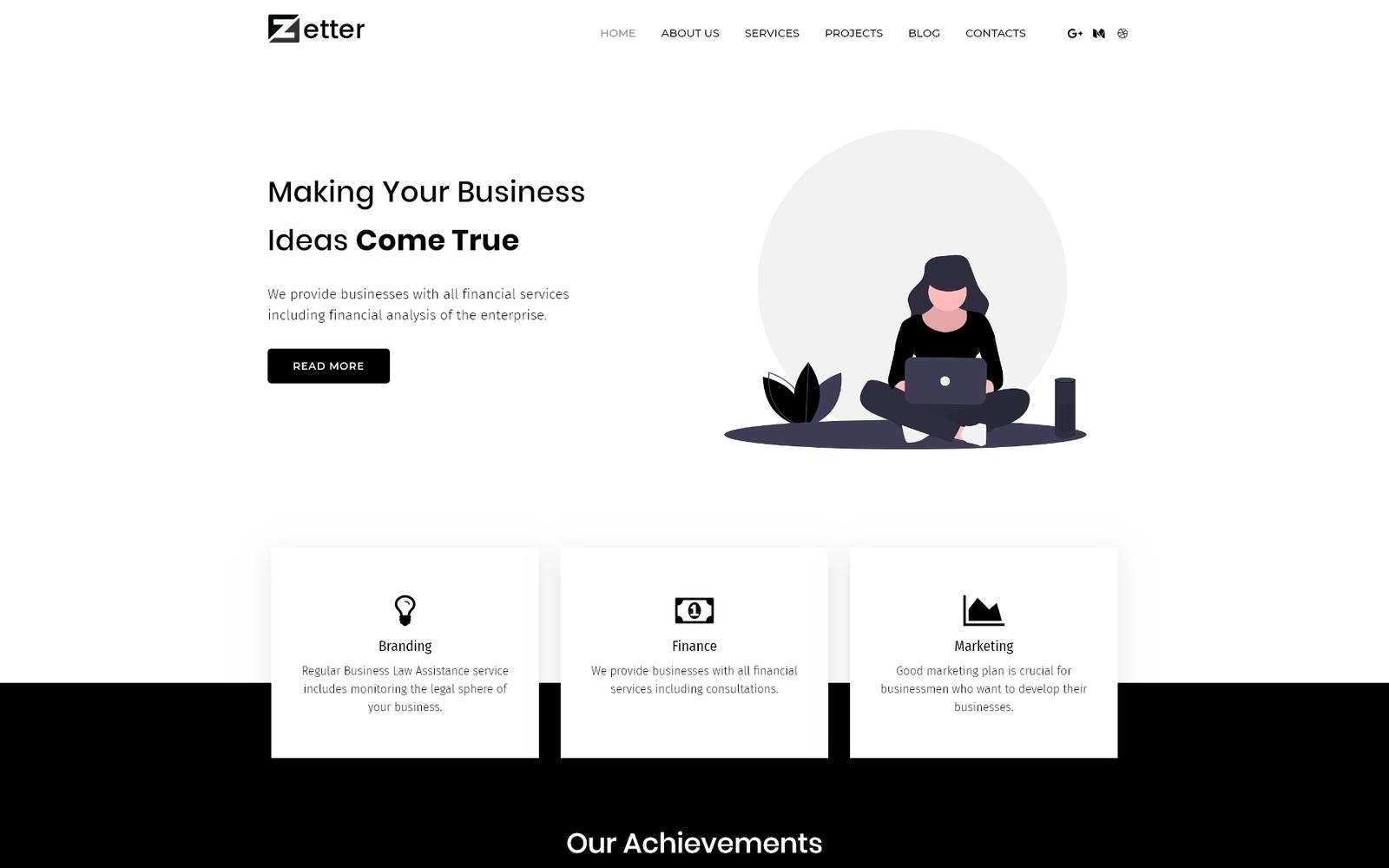 """Zetter - Business Multipurpose Black&White WordPress Elementor Theme"" Responsive WordPress thema №81610"