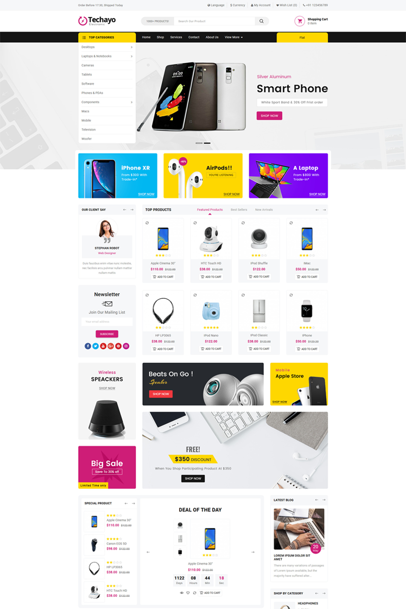 Techayo Electronics Store OpenCart Template