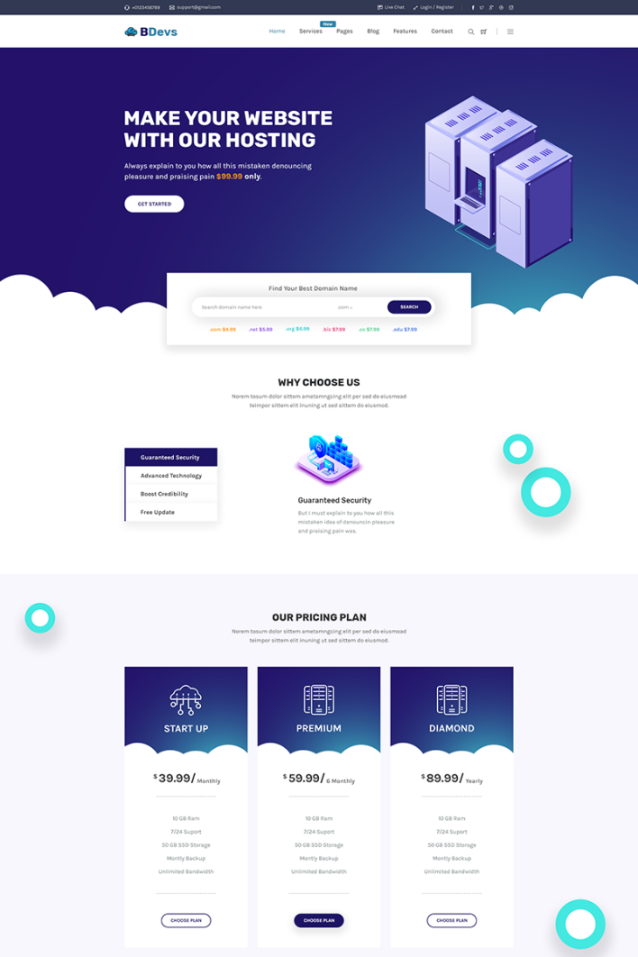 BDevs Hosting Provider WHMCS Website Template #81745