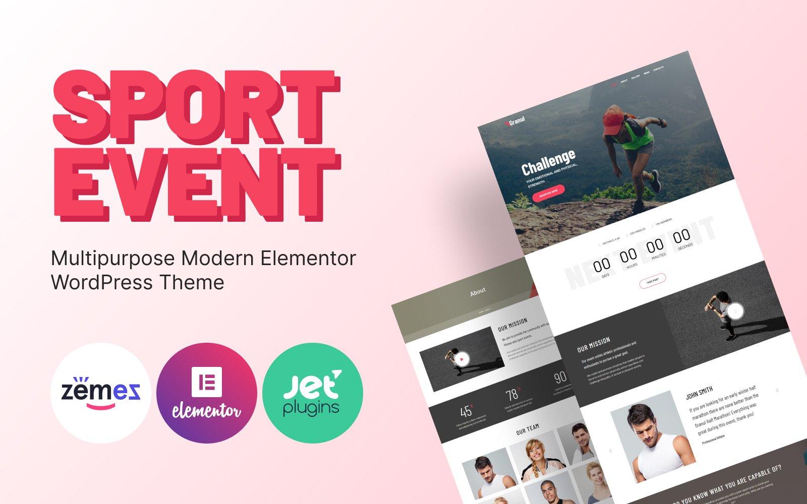 """Granul - Sport Event Multipurpose Modern Elementor"" - адаптивний WordPress шаблон №81702"
