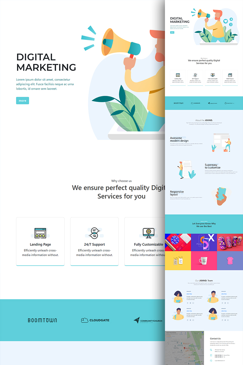"""Landing Page Template namens """"JOIIND - Multipurpose Modern Bootstrap"""" #81743"""