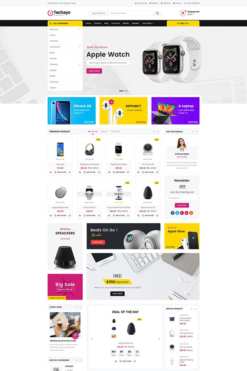 "Shopify Theme namens ""Techayo Electronics Sectioned"" #81747"