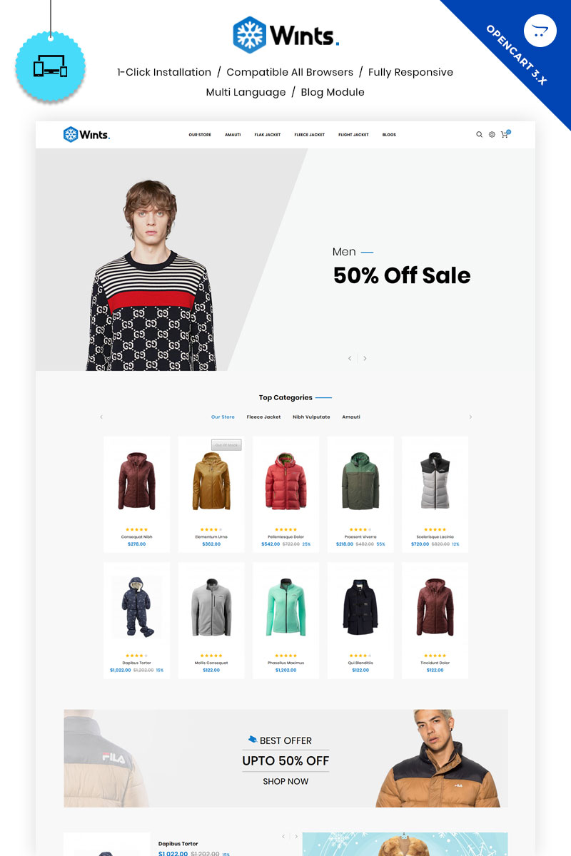 """Wints - The Fashion Store"" - bootstrap OpenCart шаблон №81721"