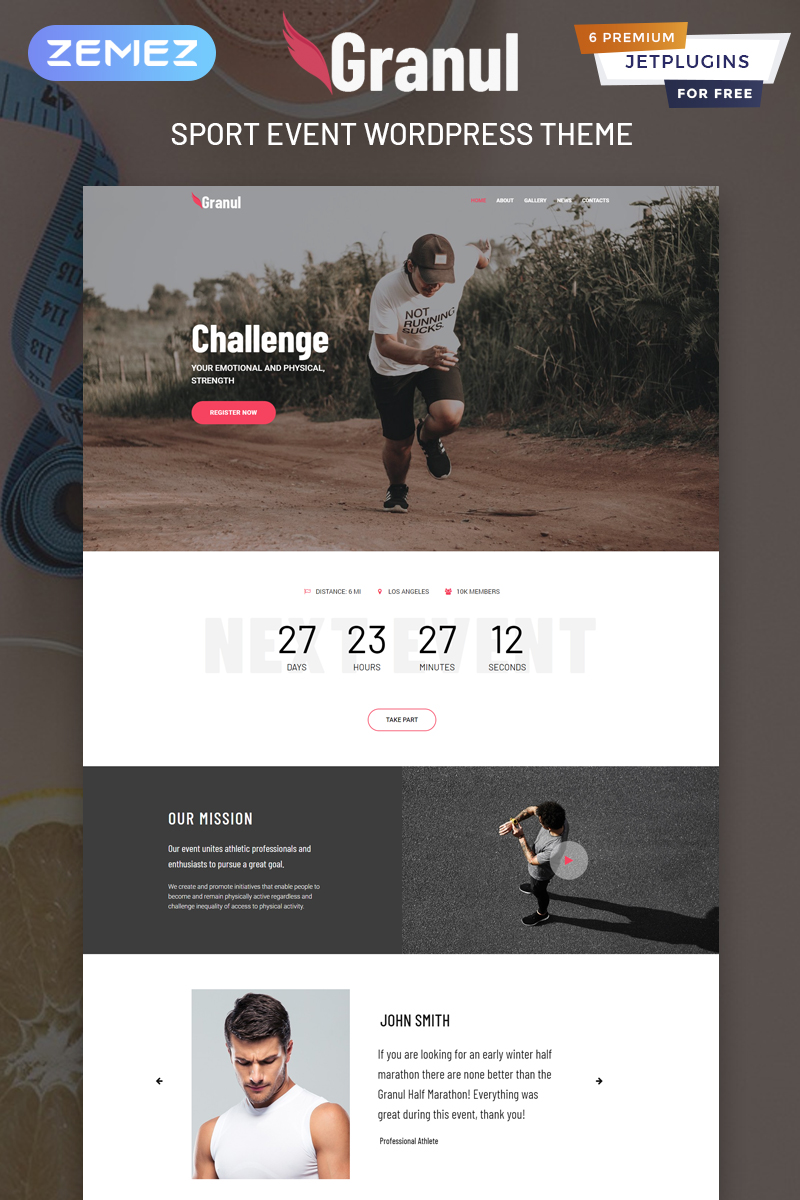 "WordPress Theme namens ""Granul - Sport Event Multipurpose Modern Elementor"" #81702"
