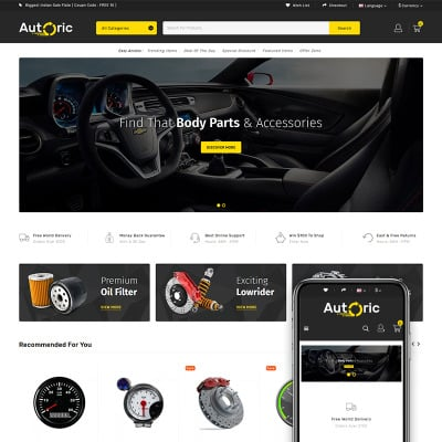 Autoric - Spare Parts Store OpenCart Template #81884
