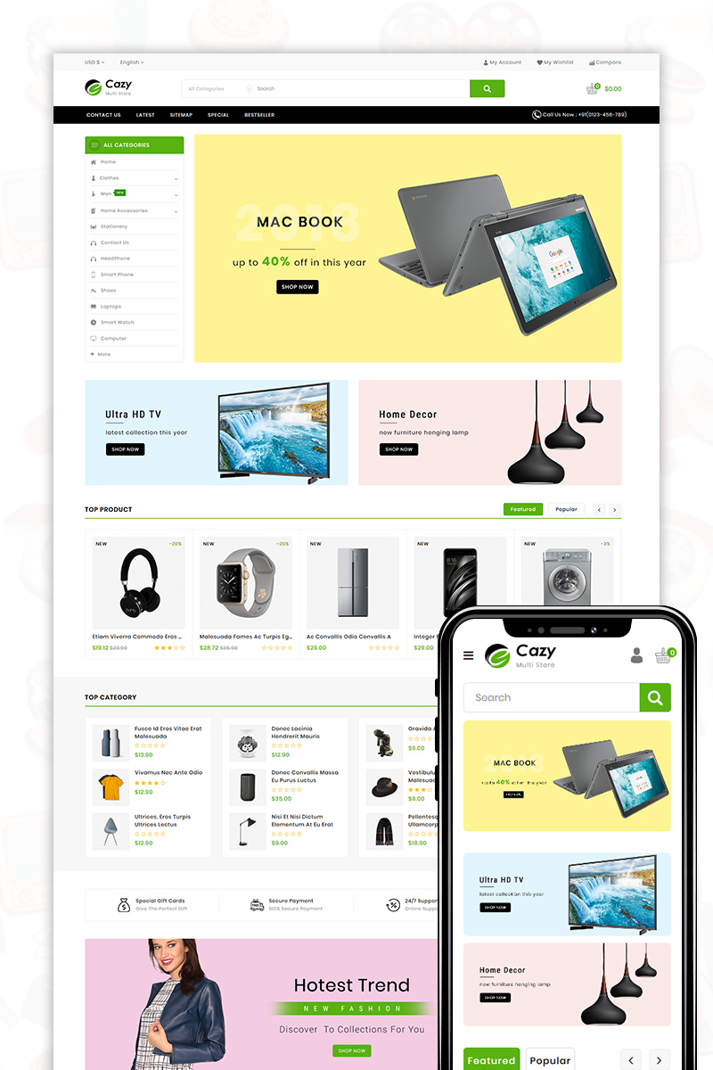 """Cazy - The Shopping Mall"" thème OpenCart adaptatif #81872"