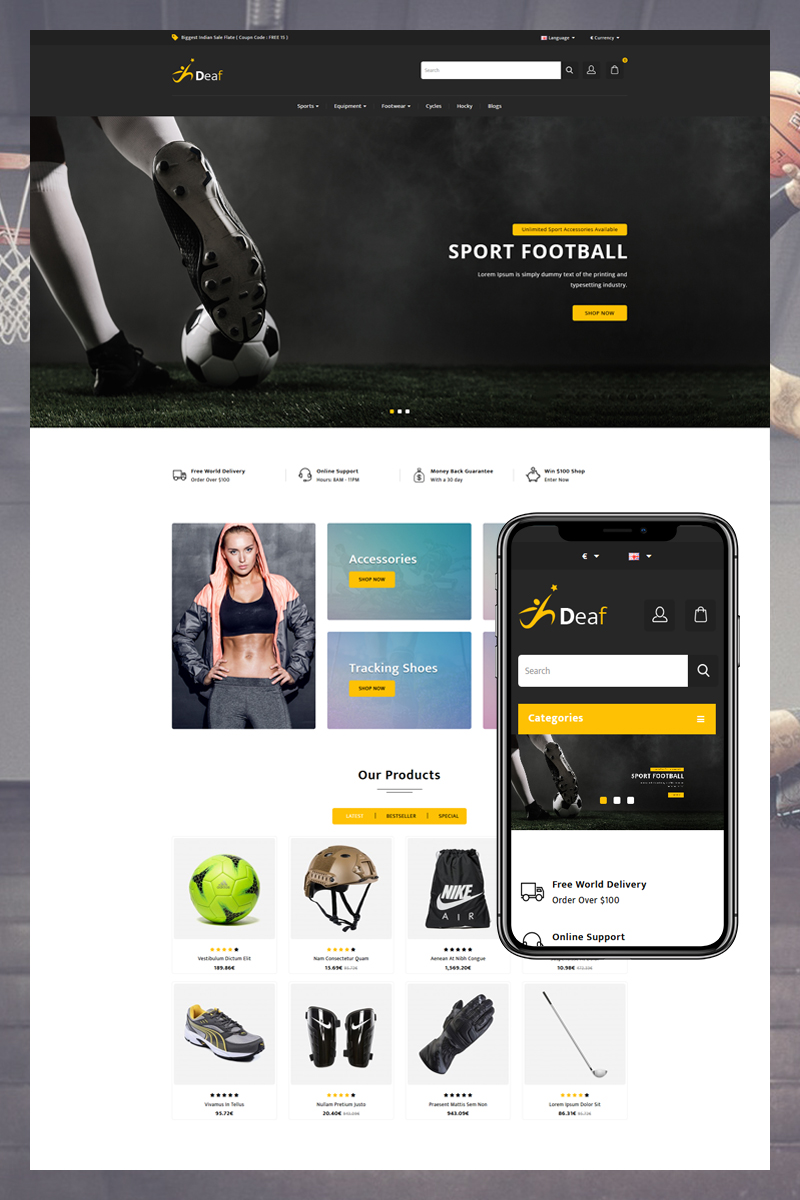 Deaf Template OpenCart №81802
