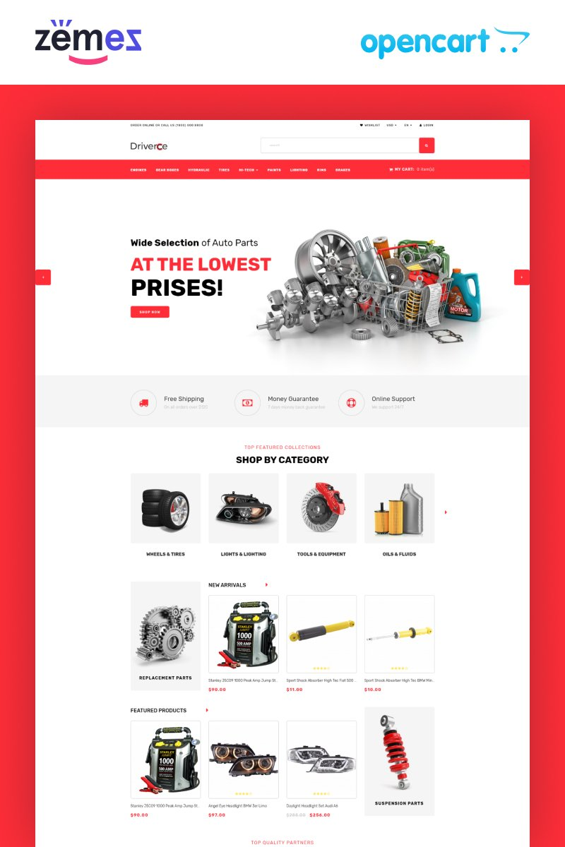 Driverce - Auto Parts Multipage Clean OpenCart Template