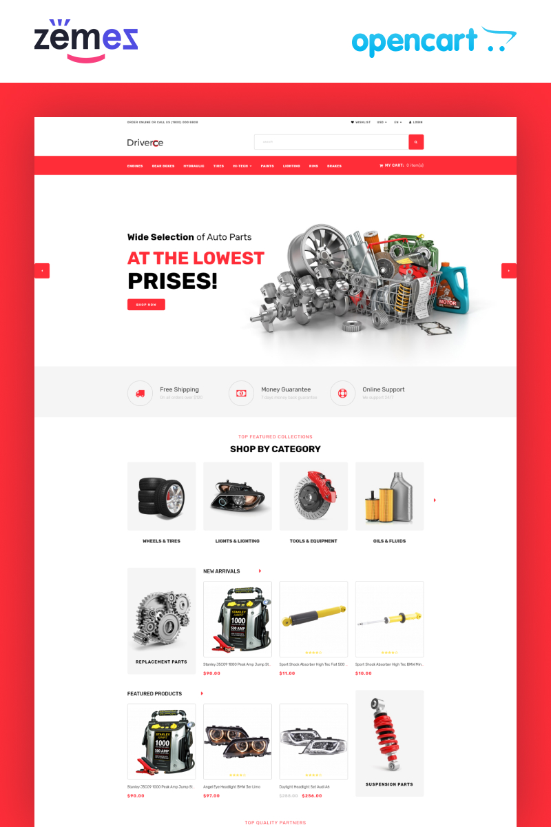 """""""Driverce - Auto Parts Multipage Clean"""" 响应式OpenCart模板 #81894"""