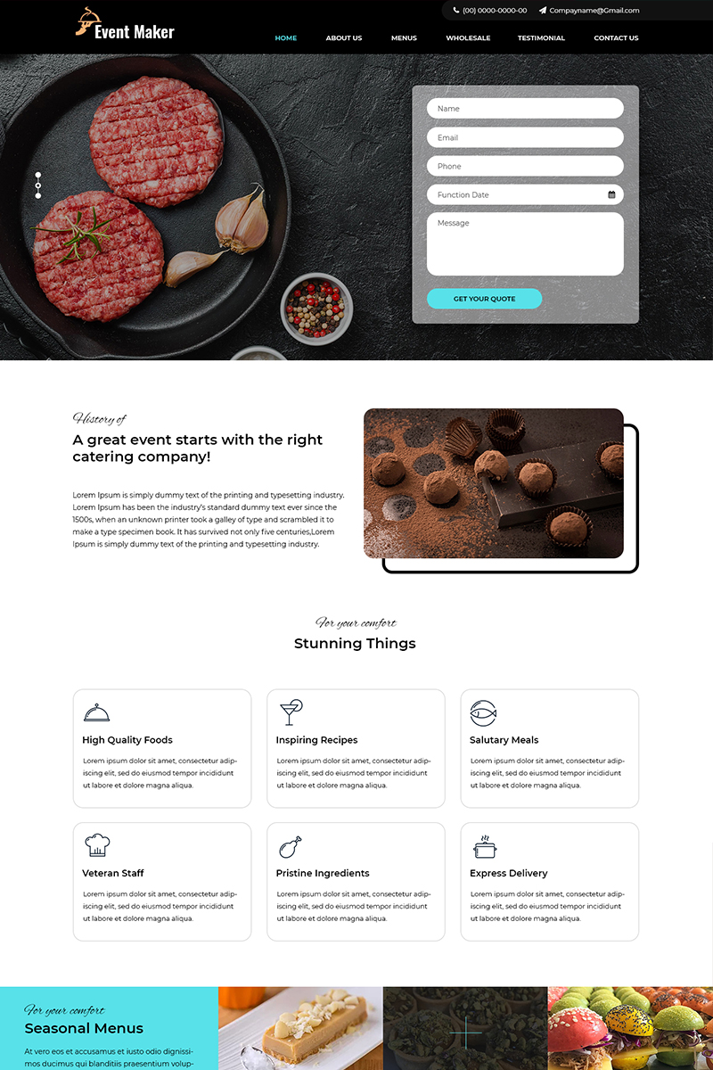 Event Maker - Catering Services PSD Template