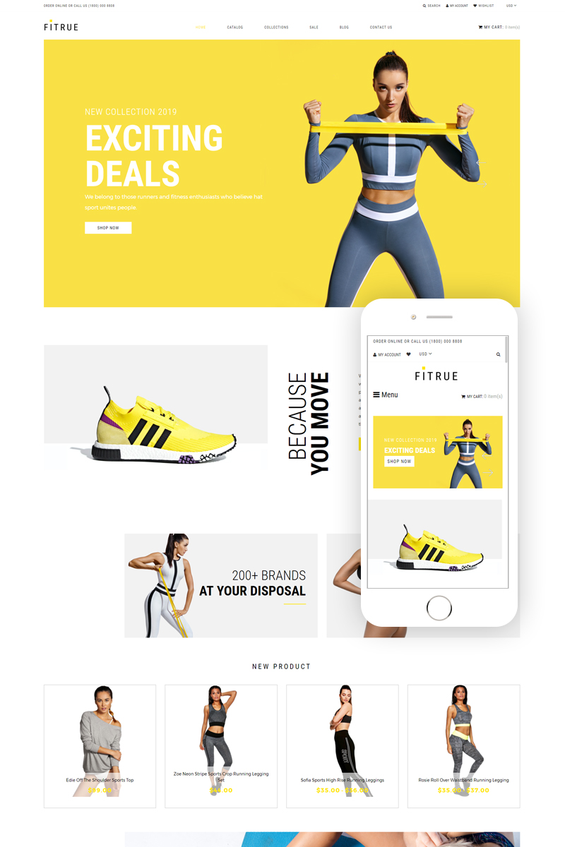 """""""Fitrue - Sports Store Multipage Clean"""" 响应式Shopify模板 #81890"""