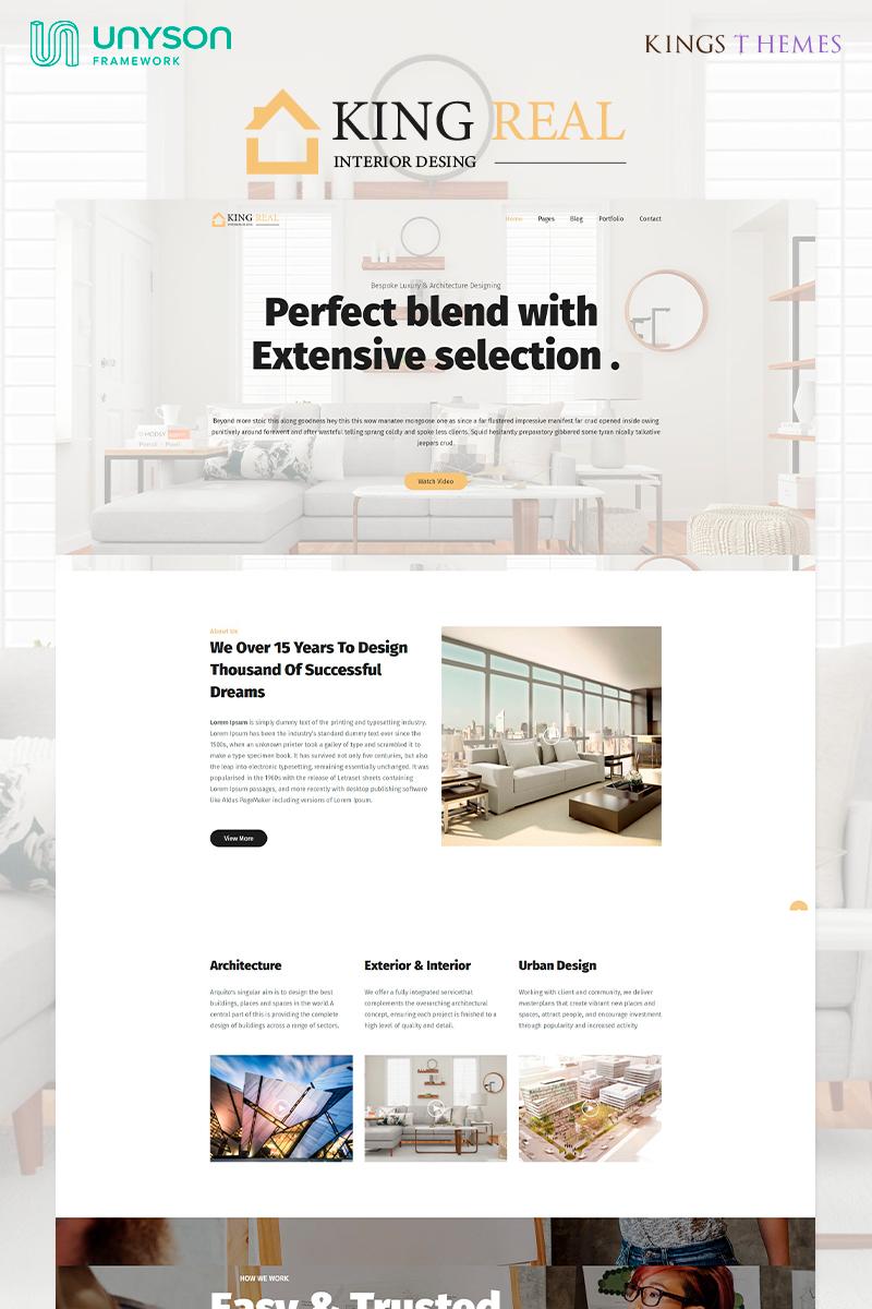 """King Real - Architecture and Interior Design"" - адаптивний WordPress шаблон №81870"