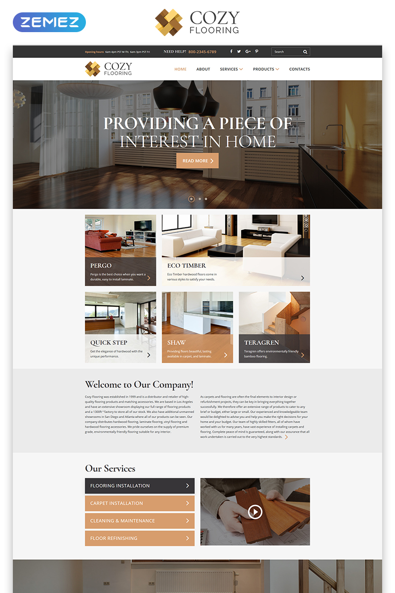 "Modello Siti Web Responsive #81815 ""COZY - Flooring Materials Responsive Modern HTML"""