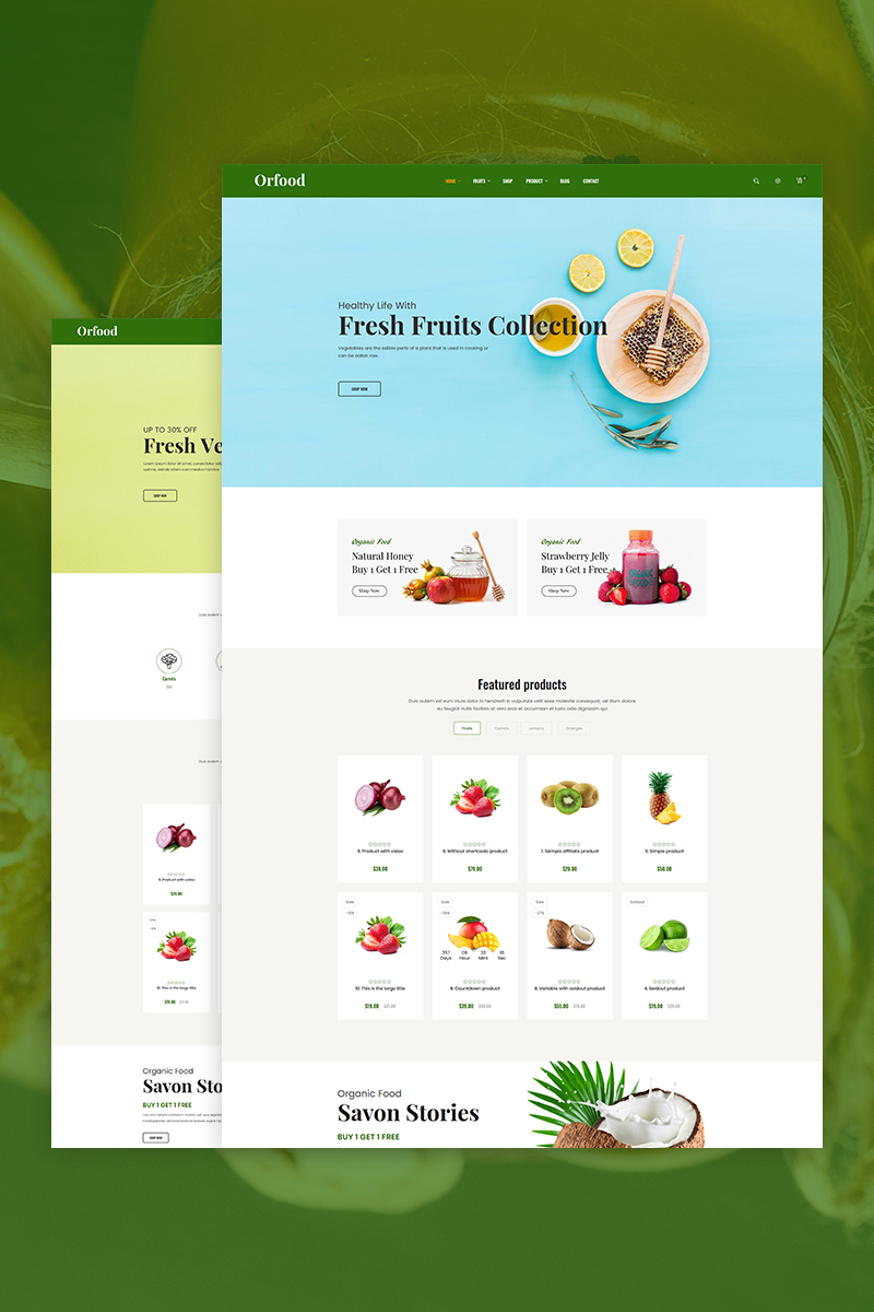 """Orfood - Organic Food"" 响应式Shopify模板 #81819"