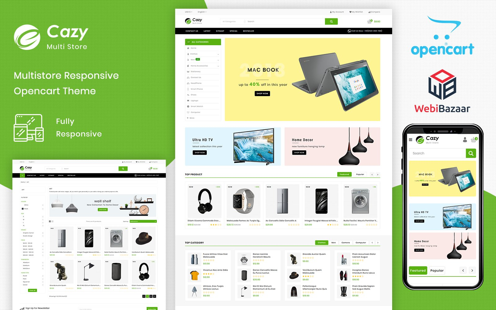 Responsive Cazy - The Shopping Mall Opencart #81872