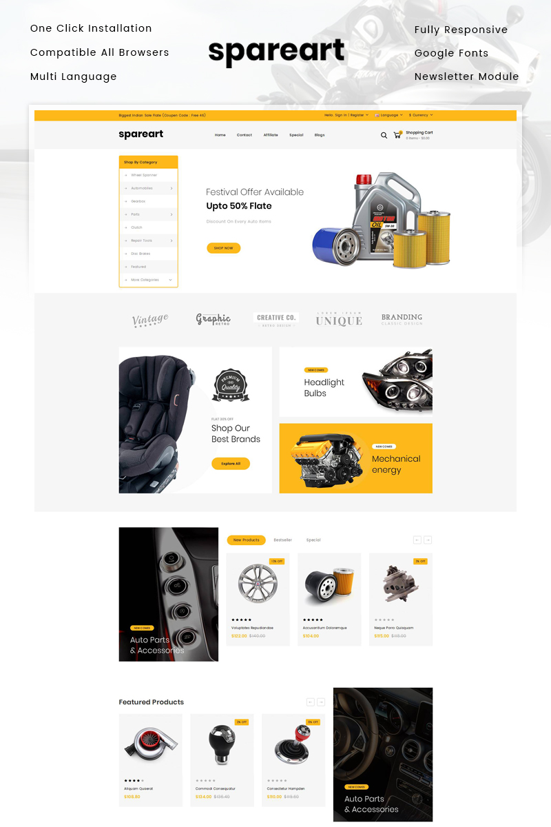 Responsive Spareart - Automobile Store Opencart #81823