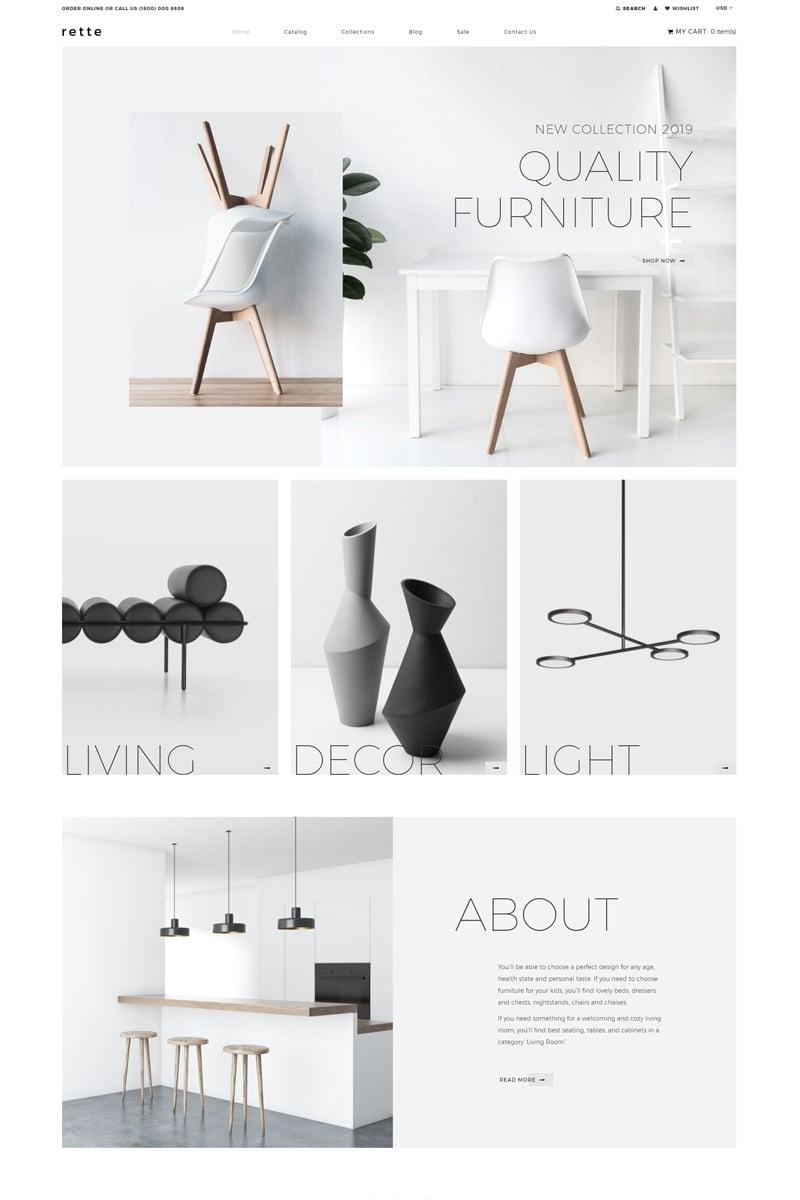 Responsywny szablon Shopify rette - Furniture Multipage Minimalistic #81892