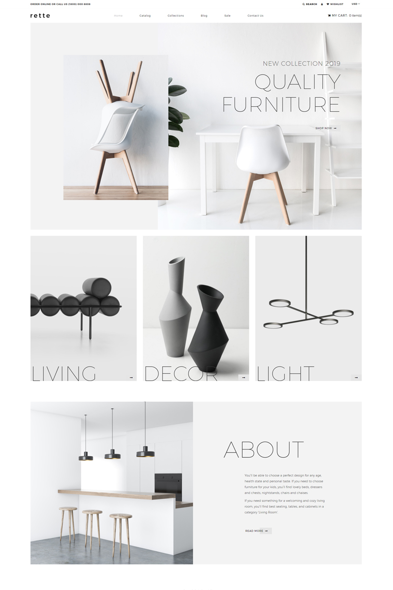 """Rette - Furniture Multipage Minimalistic"" - адаптивний Shopify шаблон №81892"