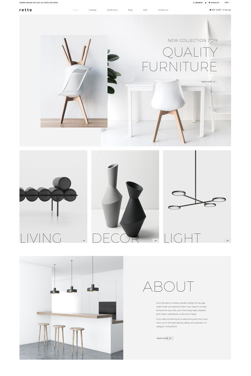 """rette - Furniture Multipage Minimalistic"" Responsive Shopify Thema №81892"