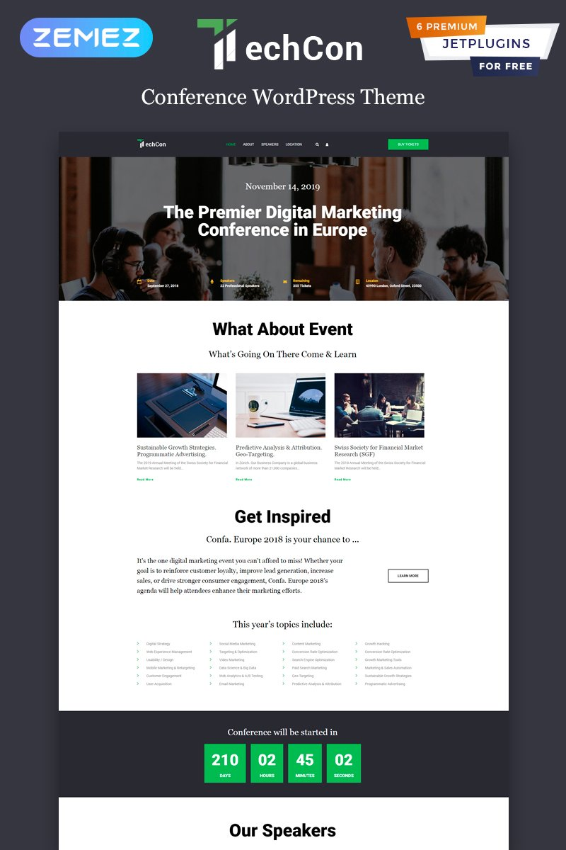 TechCon - Conference One Page Animated Elementor Tema WordPress №81873