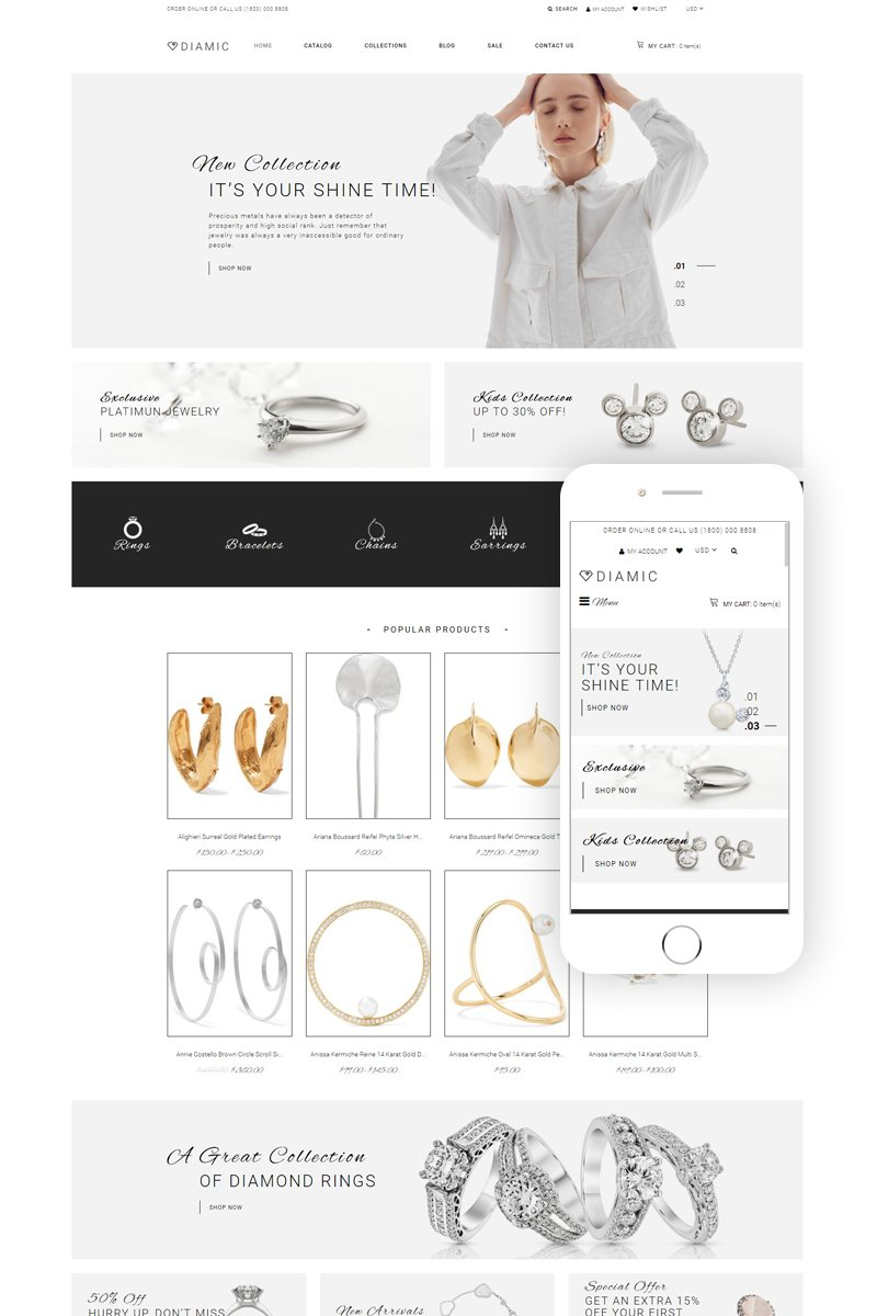 """Tema Shopify Responsive #81891 """"Diamic - Jewelry Multipage Clean"""""""