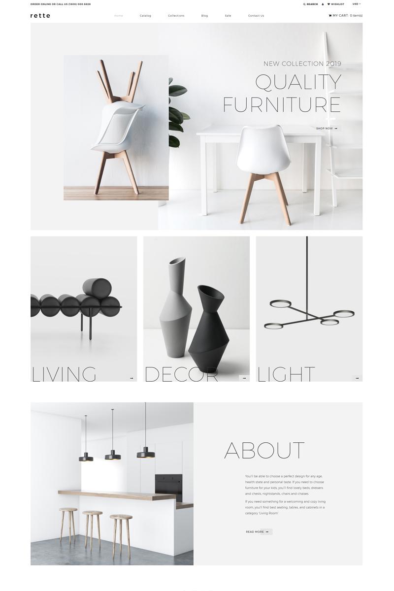 """Tema Shopify """"rette - Furniture Multipage Minimalistic"""" #81892 - captura de pantalla"""