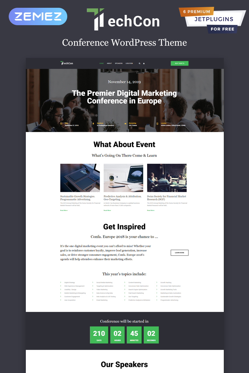 "Tema WordPress Responsive #81873 ""TechCon - Conference One Page Animated Elementor"""
