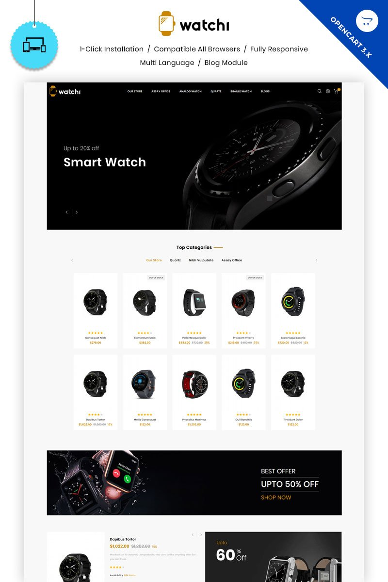 """Watchi - The Watch Store"" Responsive OpenCart Template №81826 - screenshot"