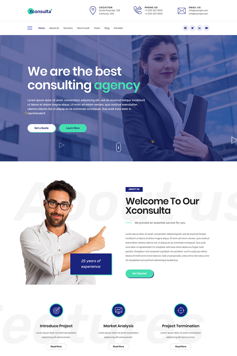 """Xconsulta - Business Multi Purpose"" thème WordPress Bootstrap #81825"