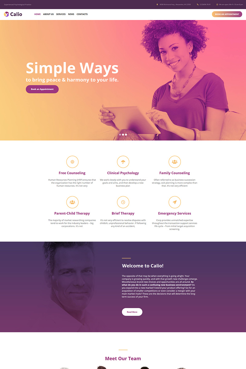 Calio - Psychology Moto CMS HTML Template