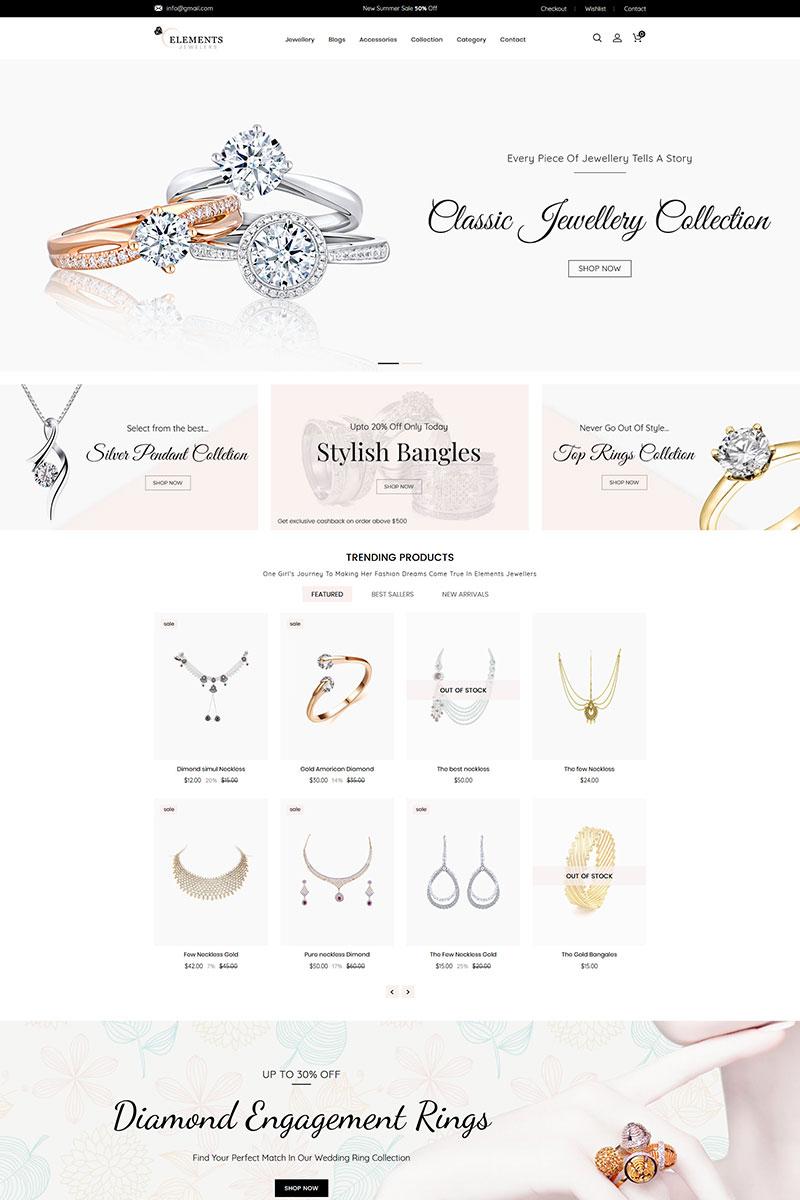 """Elements Jewelry"" - адаптивний Shopify шаблон №81988"