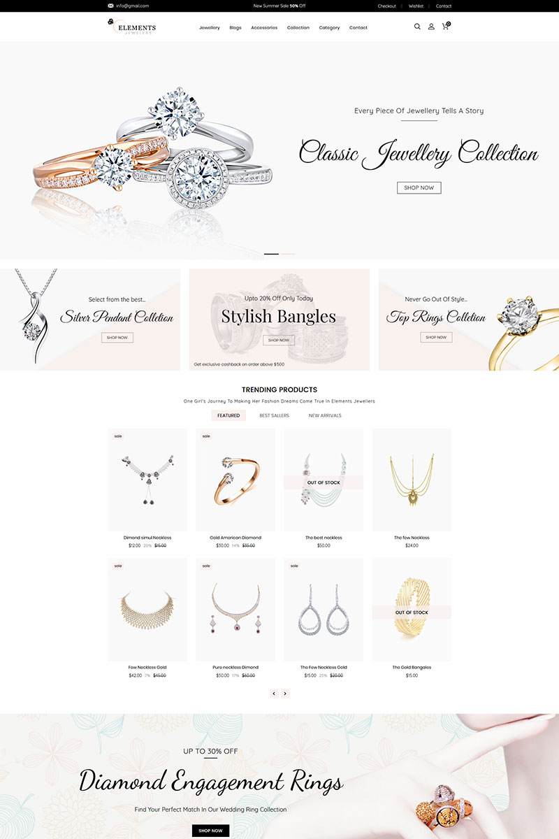 """""""Elements Jewelry"""" Responsive Shopify Thema №81988"""