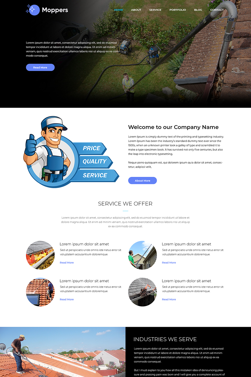 Moppers - Cleaning Company PSD Template