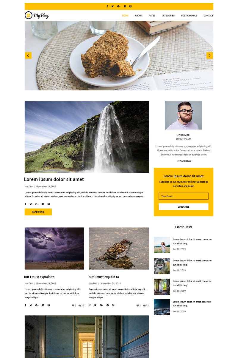 """""""My Blog - Personal Blog"""" PSD Template №81936"""