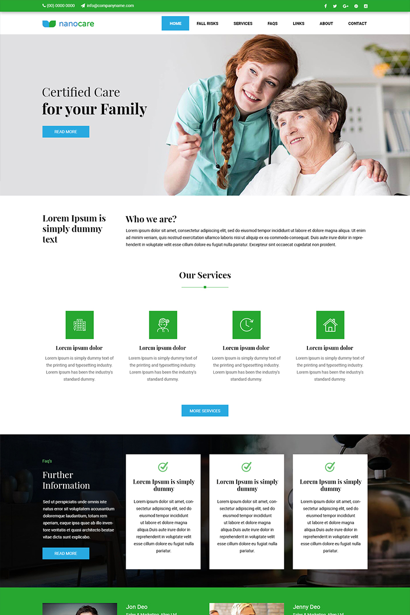 Nano Care - Oldage Home PSD Template