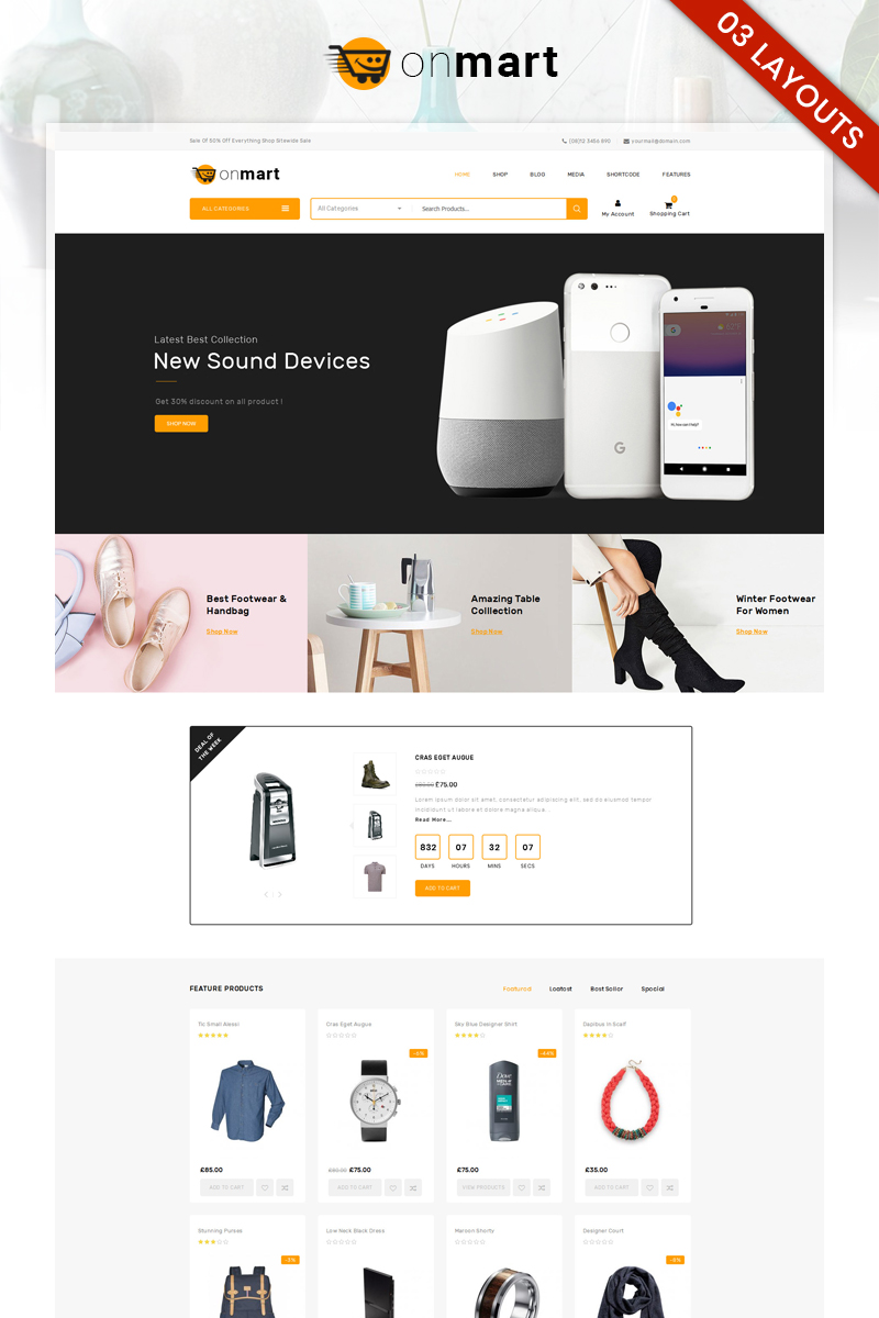 """OnMart - Multipurpose Store"" thème WooCommerce adaptatif #81935 - screenshot"