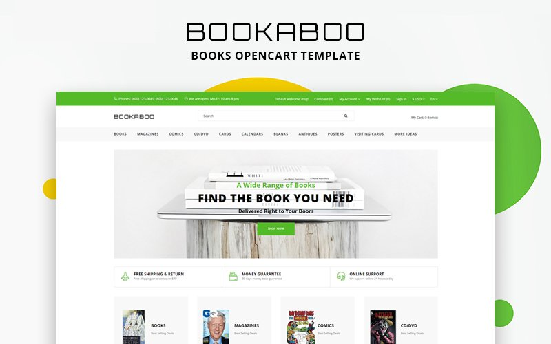 Responsive BookaBoo - Books Multipage Clean Opencart #81903