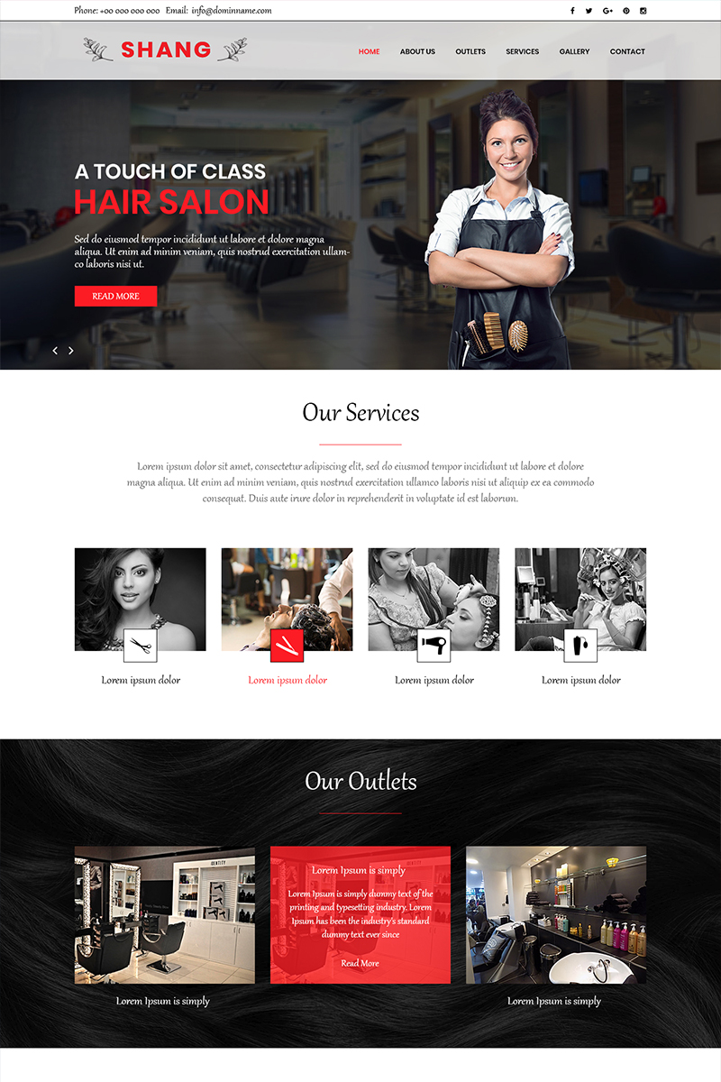 Shang - Hair Salon PSD Template
