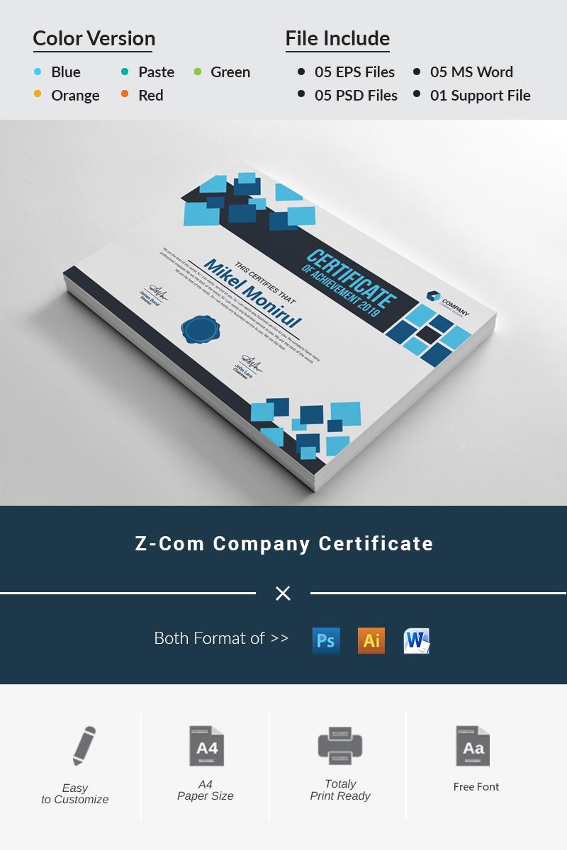 Szablon certyfikatu Z-Com Company #81939
