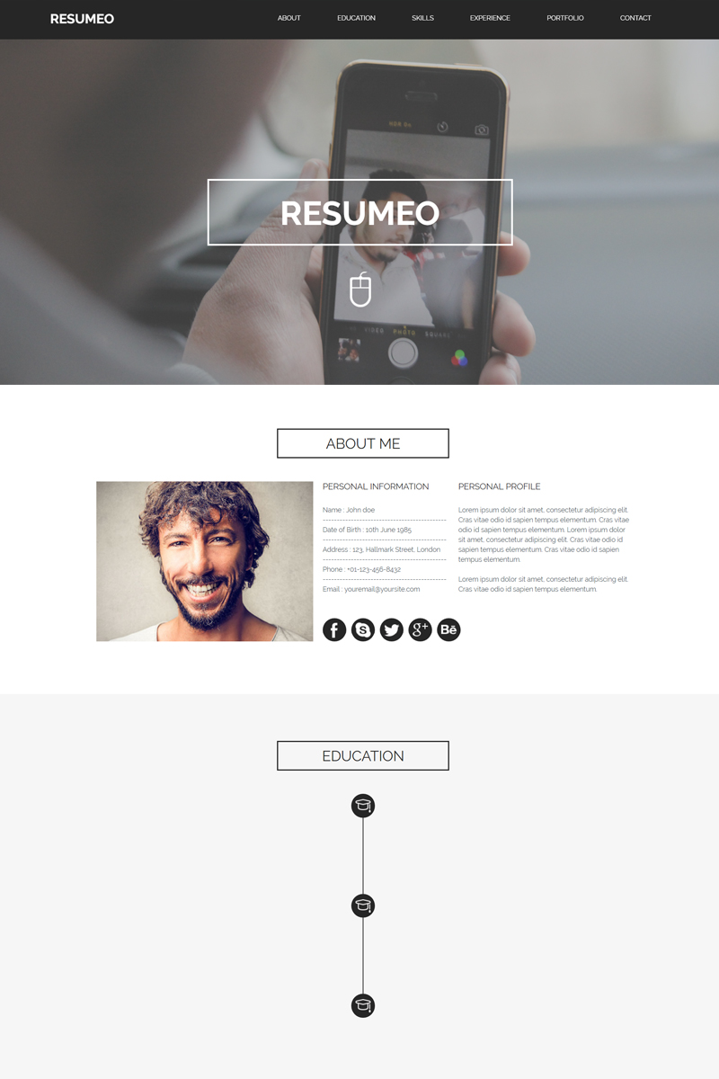 Szablon Muse Resumeo - #81945 - zrzut ekranu