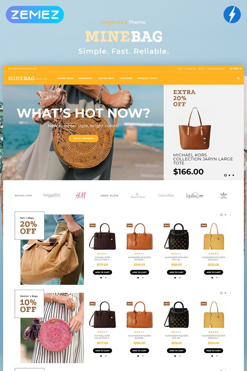 "Tema Magento ""MineBag - Simple eCommerce"" #81946"