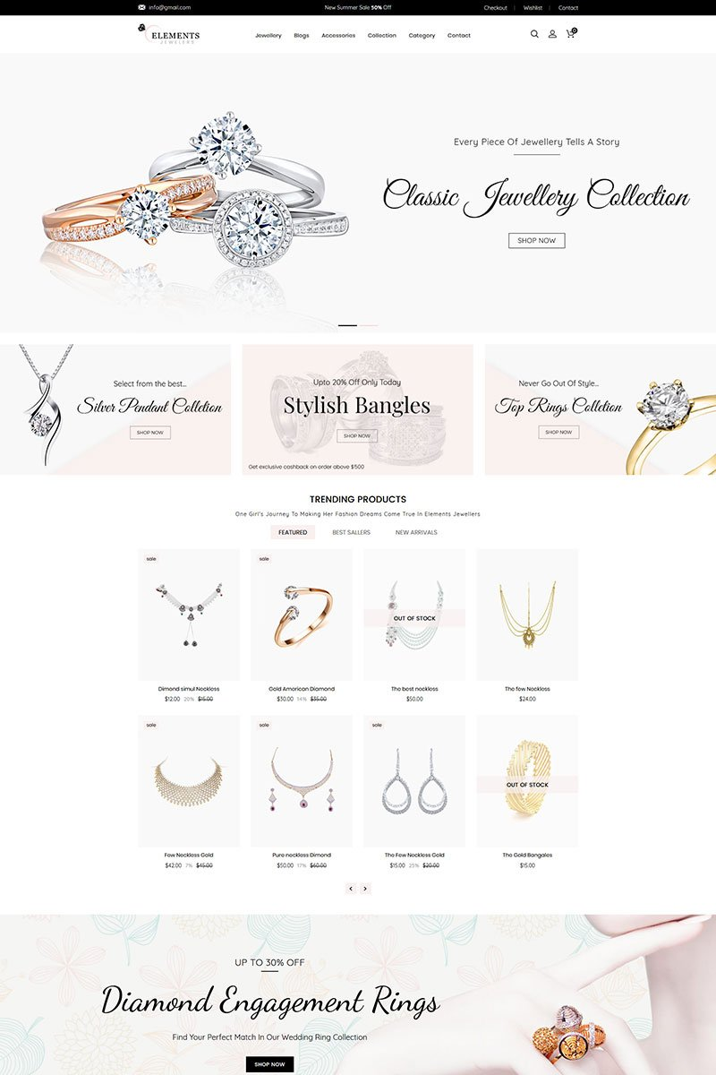 """Template Shopify Responsive #81988 """"Elements Jewelry"""""""