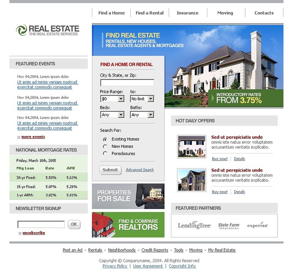 Template siti web per un sito di agenzia immobiliare for Siti web di home plan