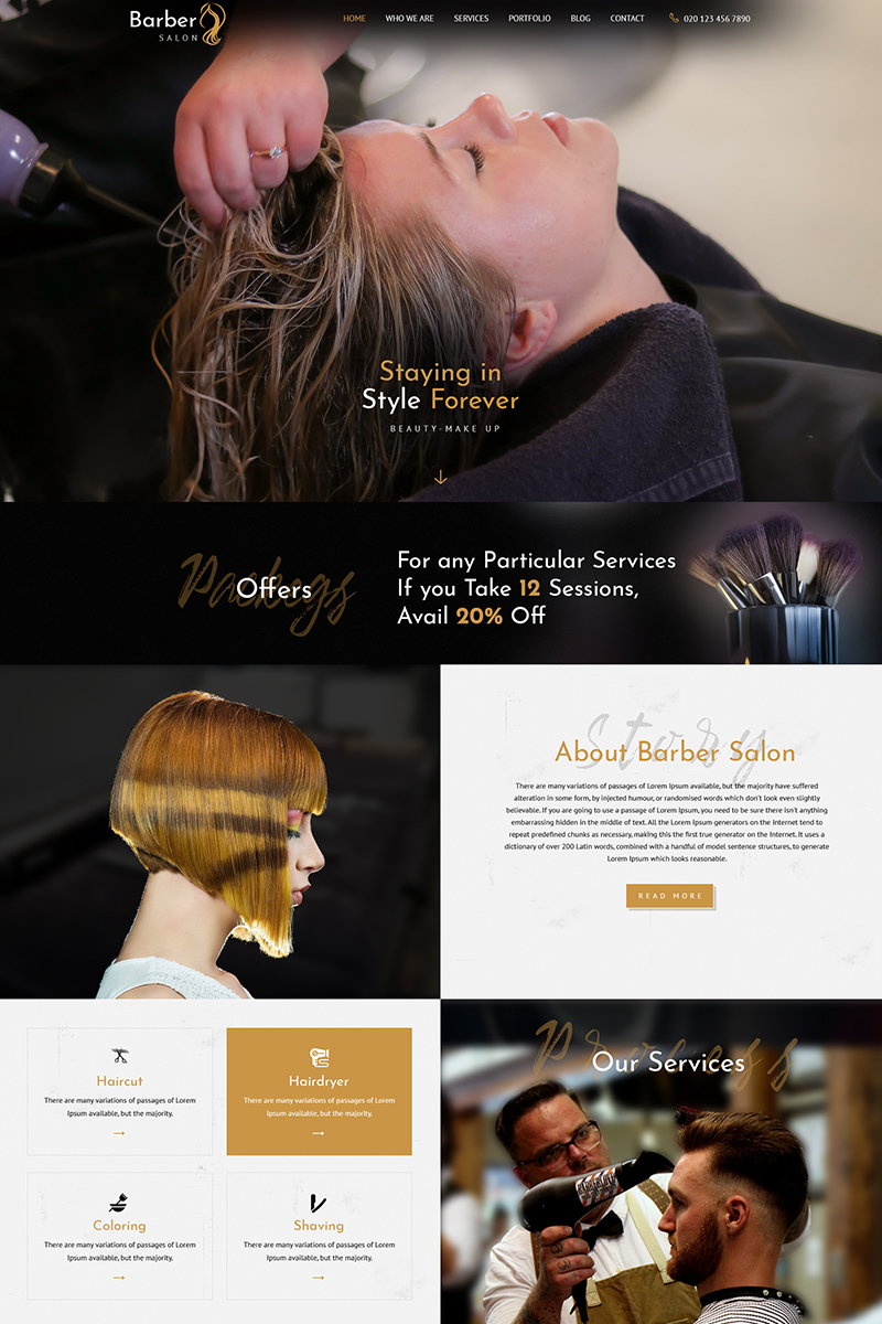 Barber Salon - Barbers & Hair Salons PSD Template
